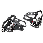 Bike Pedals | *SPD* Pedal Set with Toe Cages and Straps | 9/16"