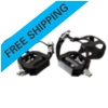 Bike Pedals, Pair, Deluxe Fixed SPD with Toe Cage, 9/16""
