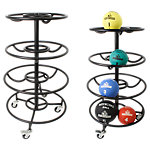 4-Tier Medicine Ball Rack with Locking Wheels, Black